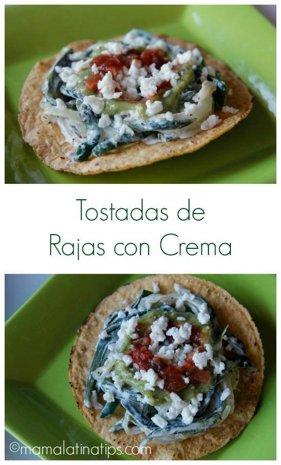 Tostadas de Rajas con Crema - mamalatinatips.com