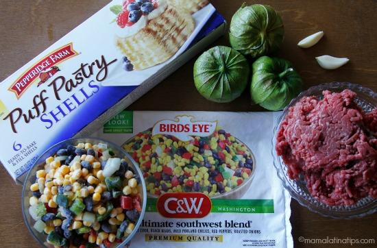 Southwest Picadillo Volovanes ingredients - mamalatinatips.com