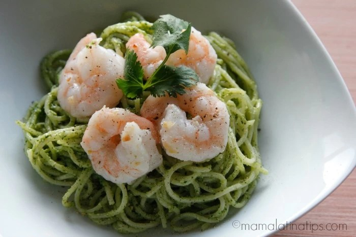 Cilantro pesto and shrimp pasta - mamalatinatips.com