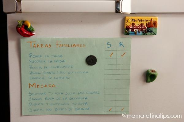 Hoja de tareas para mesada - mamalatinatips.com