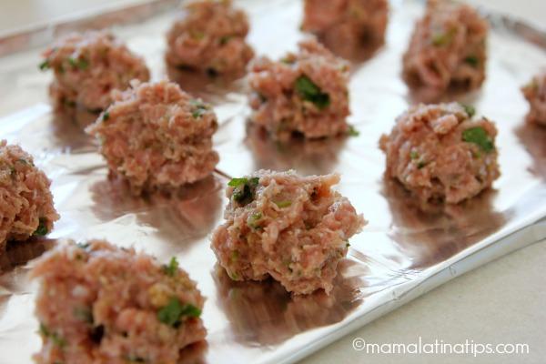 Turkey albondigas (before cooking) mamalatinatips.com