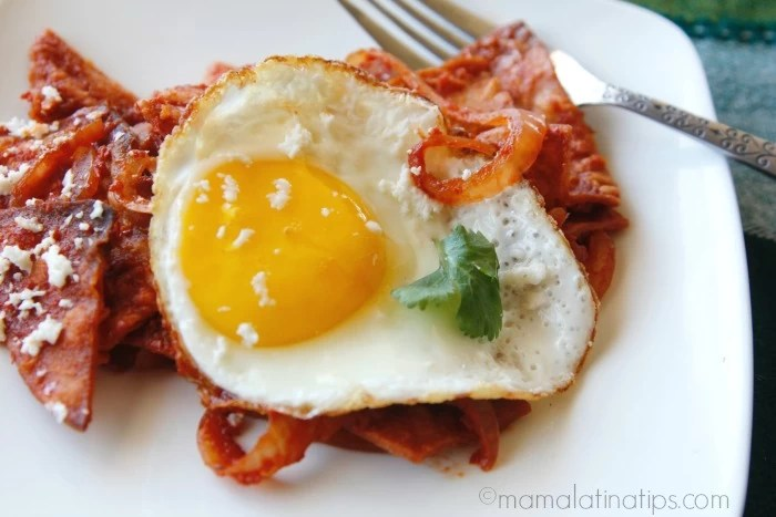 chilaquiles con huevos y chile guajillo