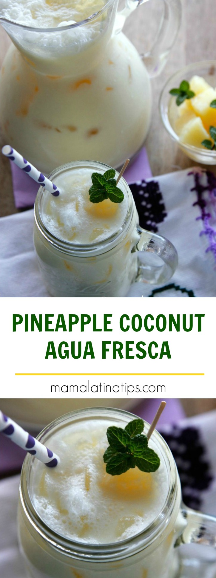 The easiest Pineapple-Coconut agua fresca ever! You just need 3 ingredients to make it any time of the year. Fast, easy and delicious try it out!