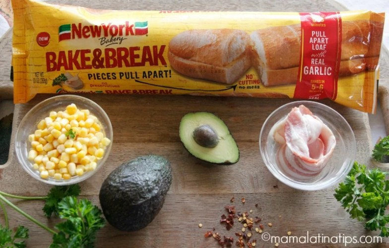 Bacon Avocado Garlic Toast with Corn (ingredients) mamalatinatips.com