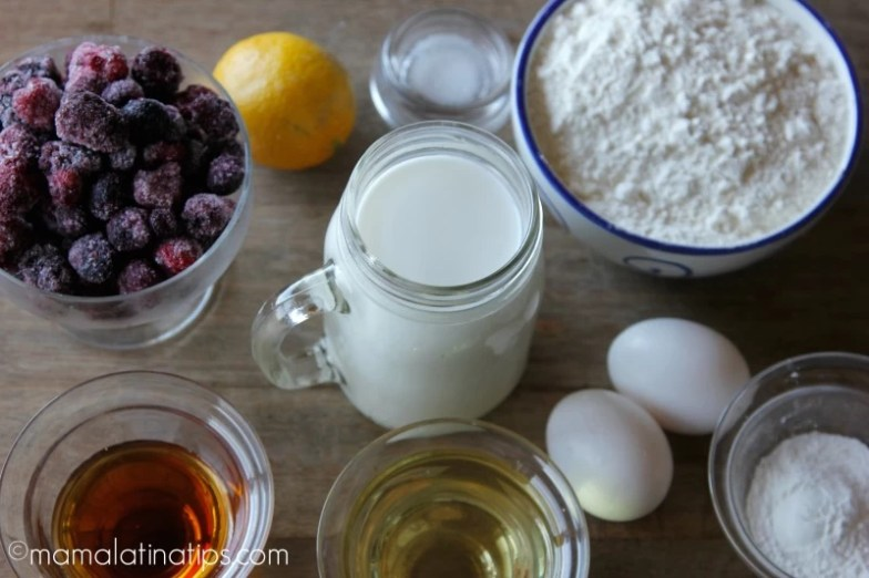 Berries, orange, milk, flour, eggs, maple syrup