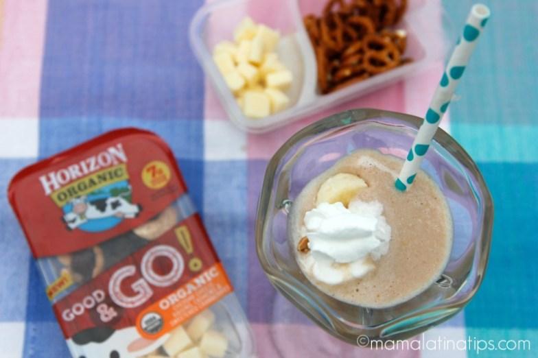 Banana-Peanut Butter Chocolate Milk along new Horizon Organic® Good & Go Snacks.