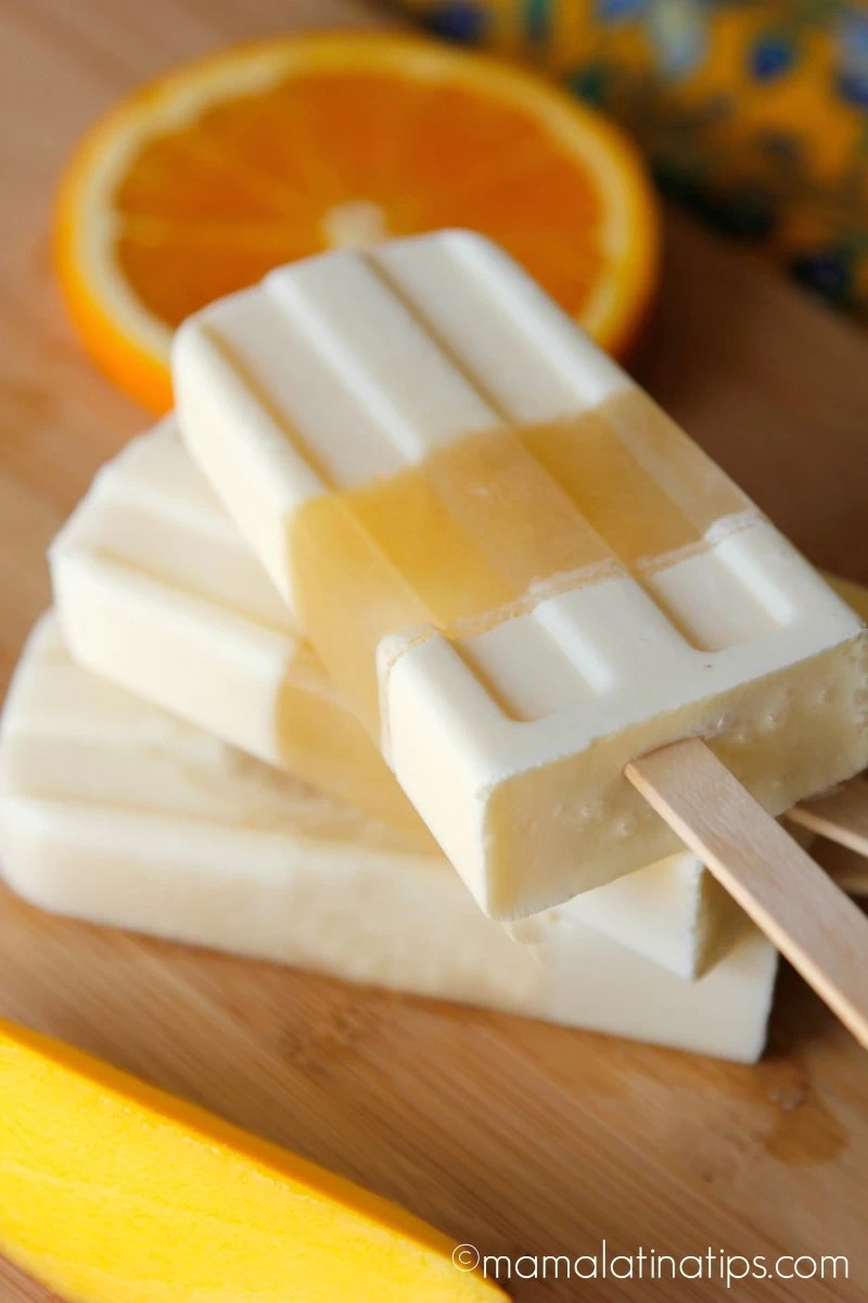 Orange-Tangerine-Mango-Cream Ice Pops by mamalatinatips
