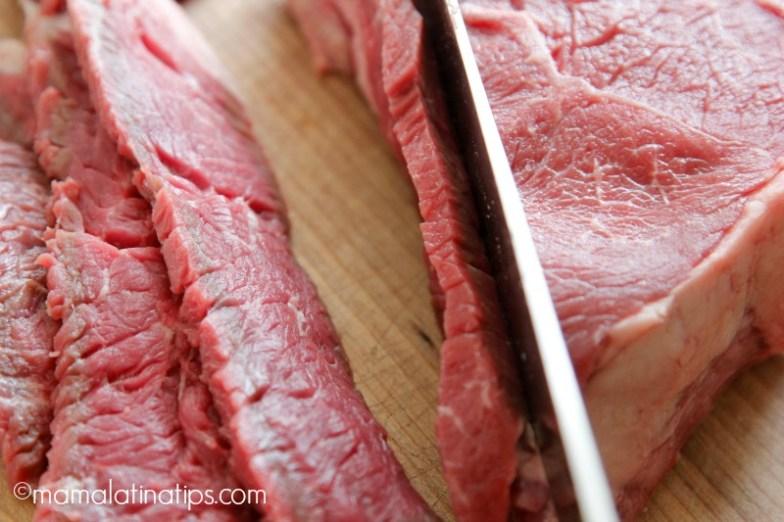 Slicing Angus beef