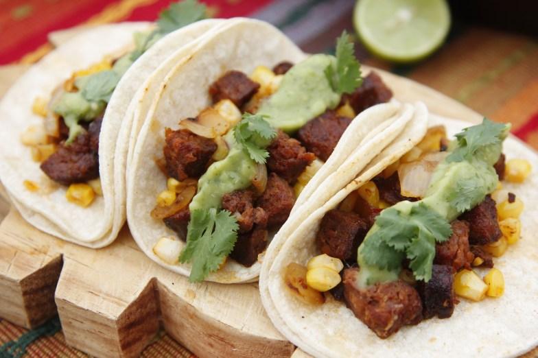 Chorizo tacos with green salsa
