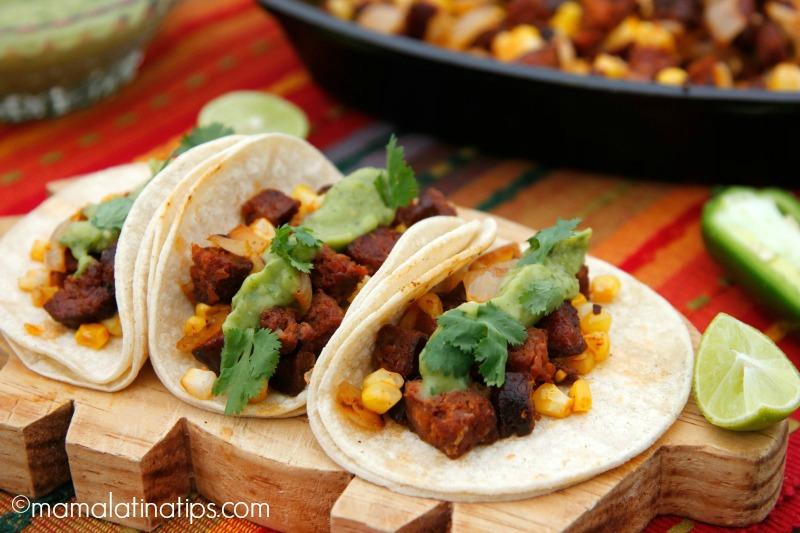 Chorizo Tacos with roasted onion, corn and avocado salsa - mamalatinatips.com