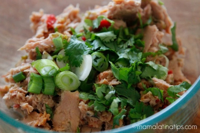 Tuna with jalapeño, green onions and cilantro