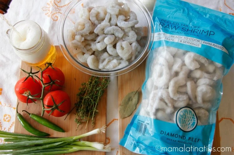Shrimp in beer sauce, ingredients - mamalatinatips.com