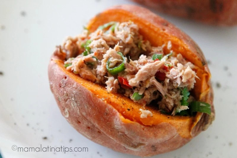 Tuna Stuffed Sweet Potatoes