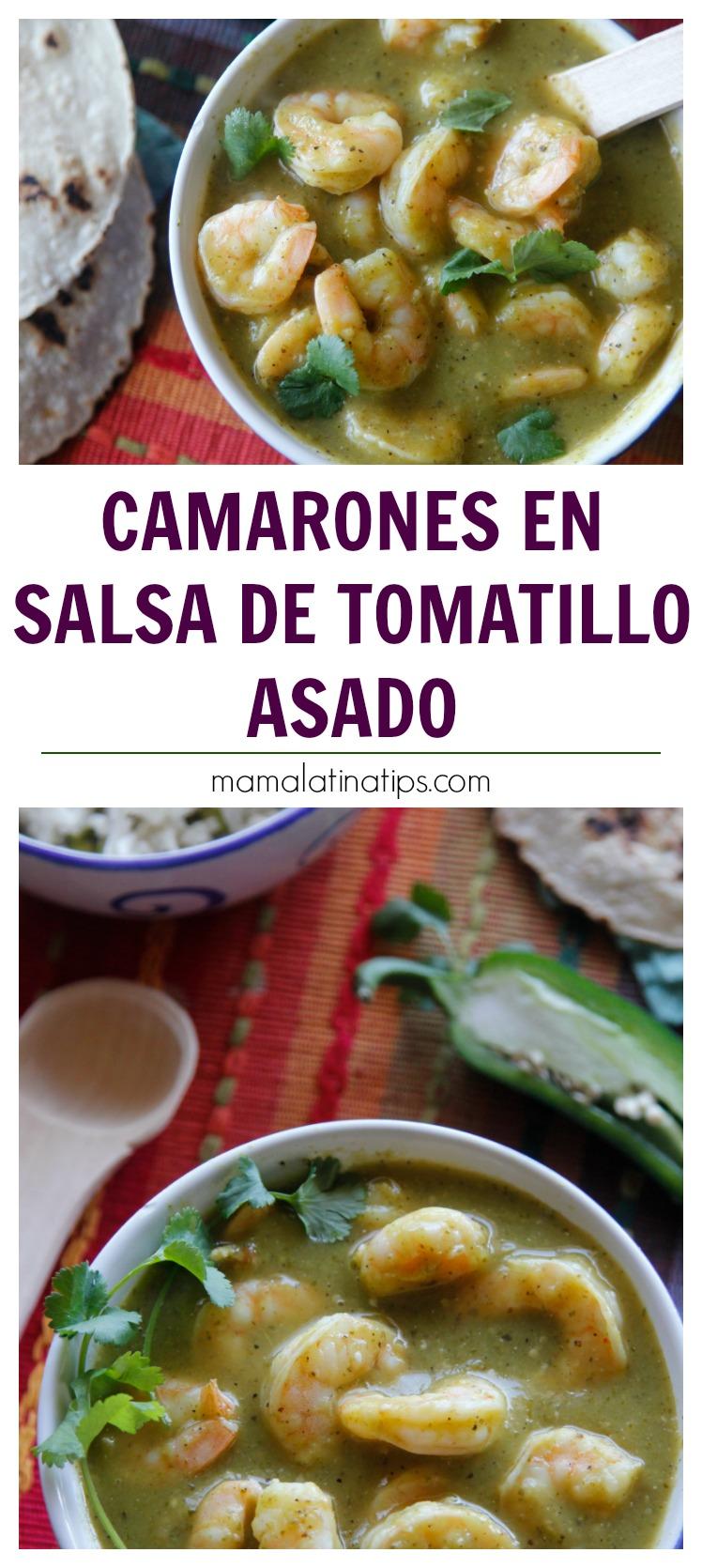 El delicado sabor de los camarones va muy bien con la profundidad y acidez de la salsa de tomatillo asado. Prepara la salsa con anticipación y tendrás un platillo listo en menos de 15 minutos. #comidamexicana #salsaverde #tomatilloasado #camarones #recetasdecuaresma