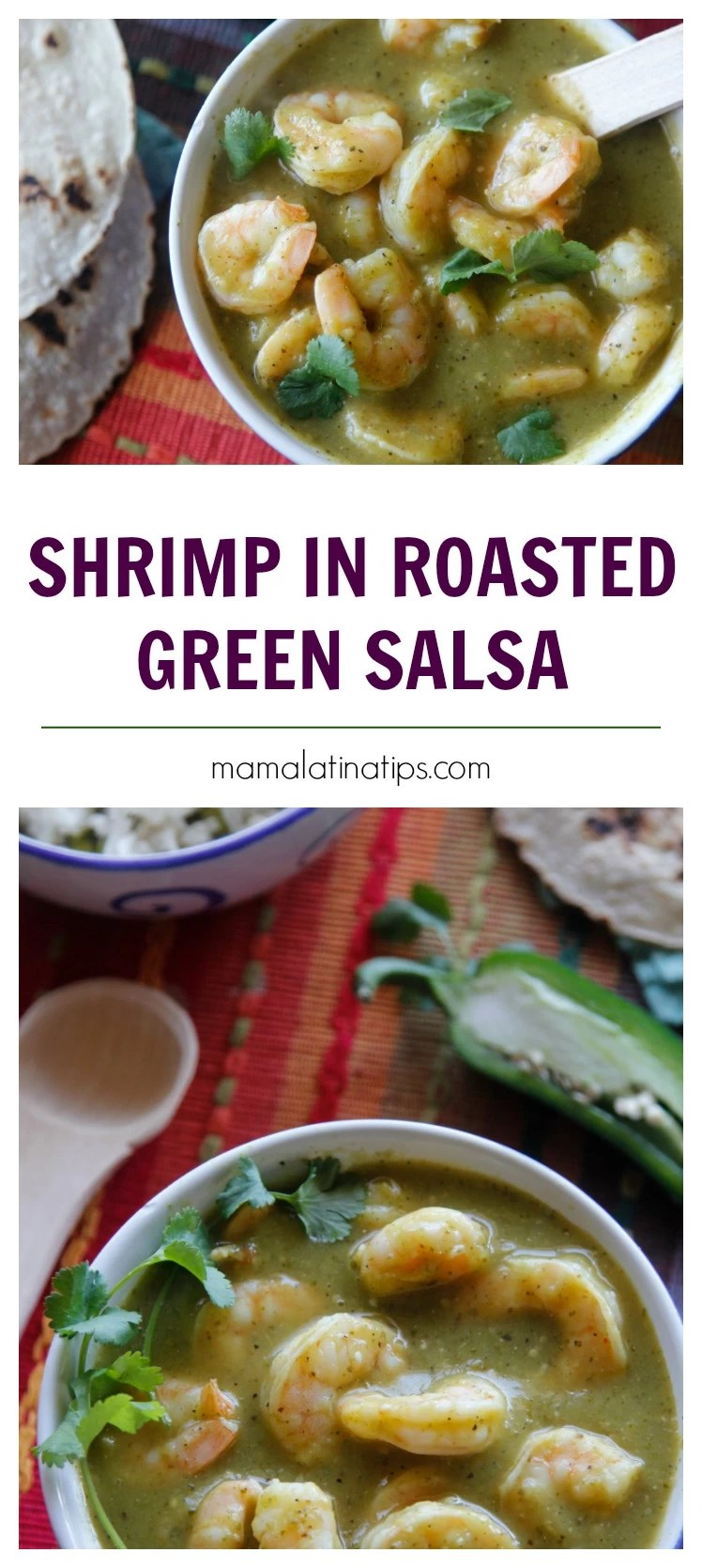A deep roasted salsa combined with succulent shrimp, perfect for a quick satisfying meal. #shrimp #Roastedsalsaverde #RoastedGreenSauce #MexicanFood #salsaverde