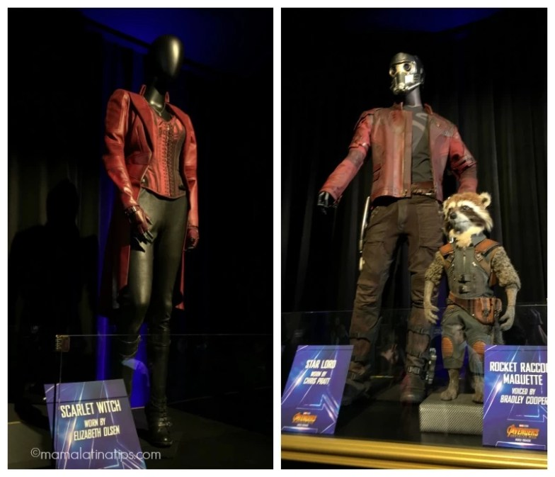 Scarlet Witch, Star Lord and Rocket costumes at the Avengers: Infinity War World Premiere