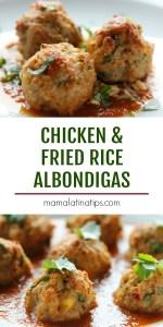 Chicken and fried rice albondigas