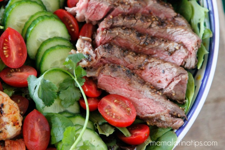 grilled rib eye steak with vegetables