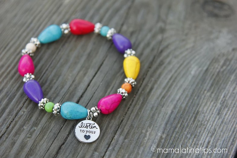 Colorful bracelet with a charm.