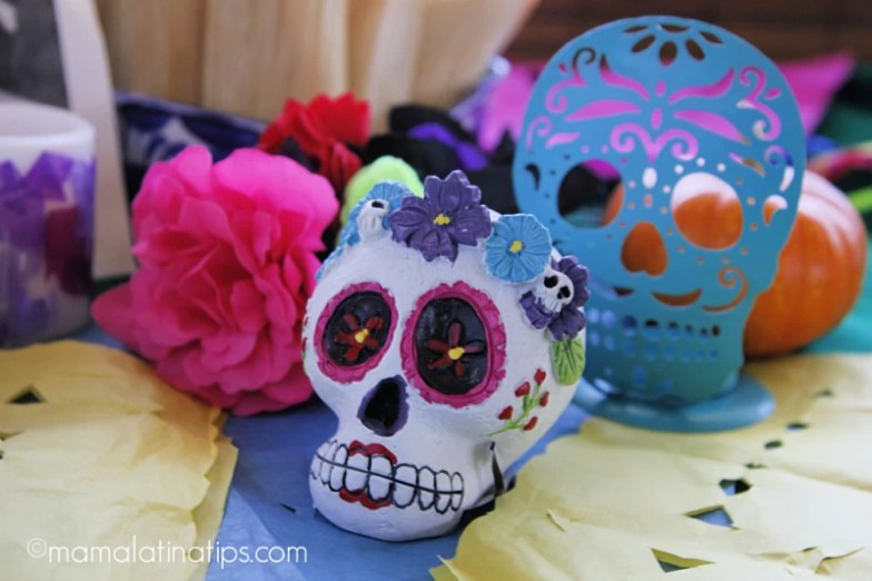 Sugar skulls and flowers