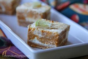 marbled pumpkin lime cheesecake bars