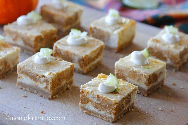 marbled pumplin lime cheesecake bars