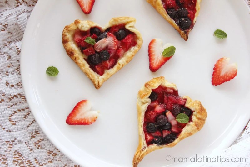 heart shaped orange-berry rustic tarts