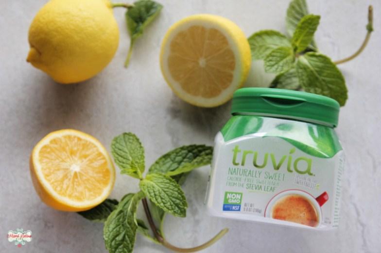 lemons, mint leaves and a jar of Truvía Spoonable