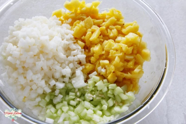 chopped pineapple, jicama and cucumber