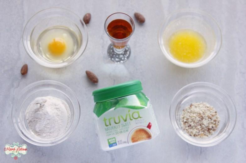 Truvía spoonable jar, butter, egg, flour, almonds and amaretto