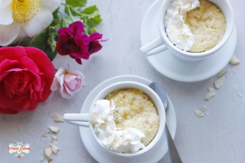 two cups of amaretto mug cake