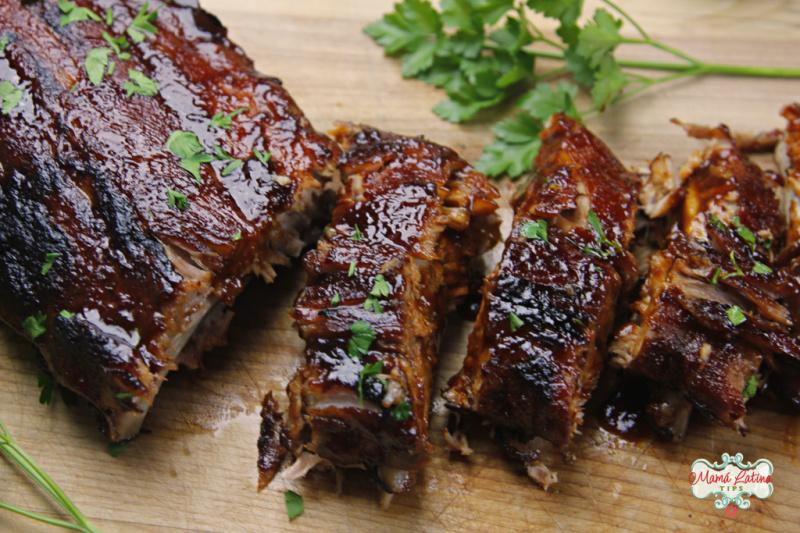 baked pork ribs with guajillo sauce
