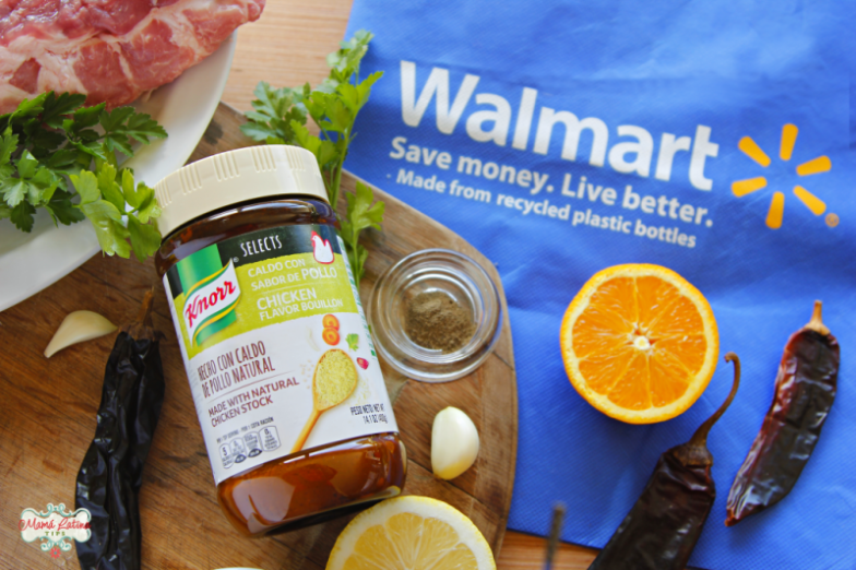 Knorr Selects Chicken Flavor Bouillon jar, Walmart bag, oranges and garlic