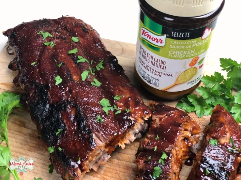 Pork ribs with guajillo sauce and a jar of Knorr Selects Chicken Flavor Bouillon