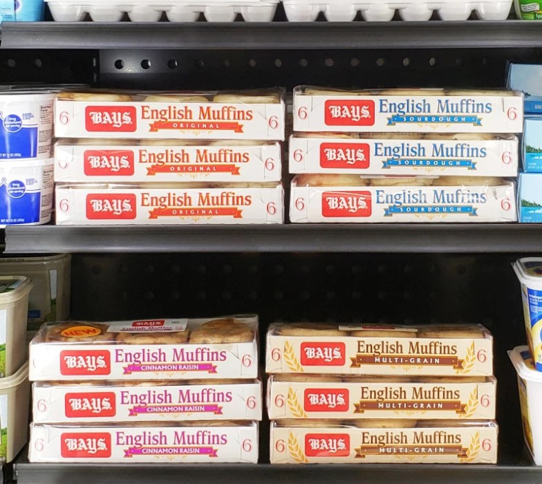 Bays English Muffins in cases by the fridge section