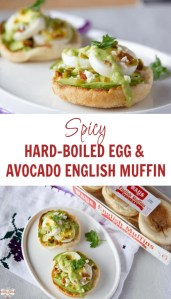 pin of spicy hard-boiled egg & avocado English muffins