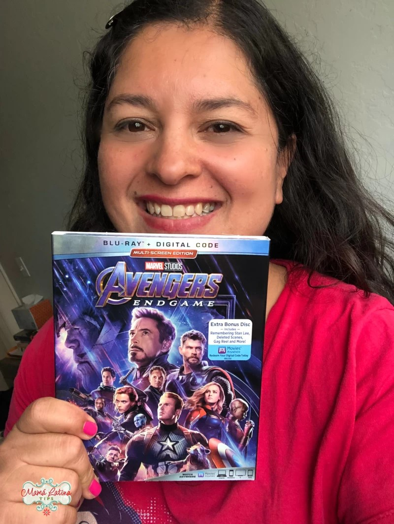 Silvia holding a copy of Avengers:Endgame blu-ray