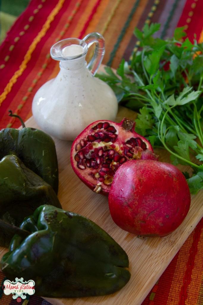 poblano peppers, pomegranate, parsley, walnut cream