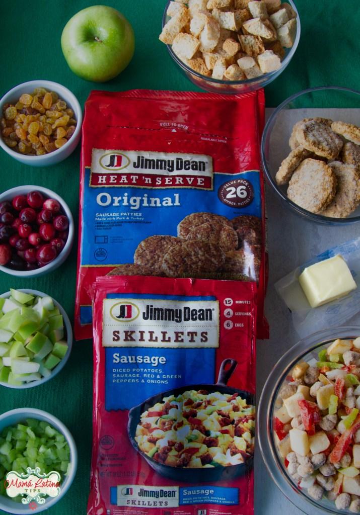 bolsas de salchicha y otros ingredientes para hacer stuffing