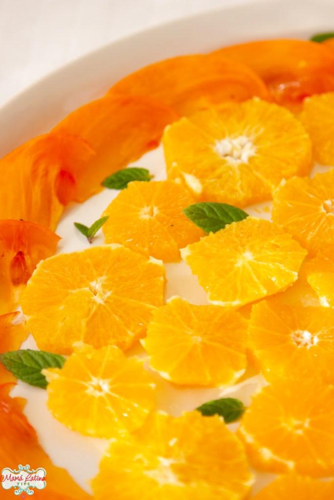 Ensalada de cítricos con naranjas, mandarinas y persimmons