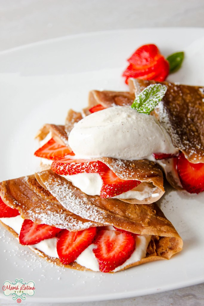 3 crepes with ice cream