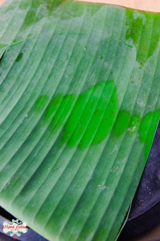 banana leave on top of a comal