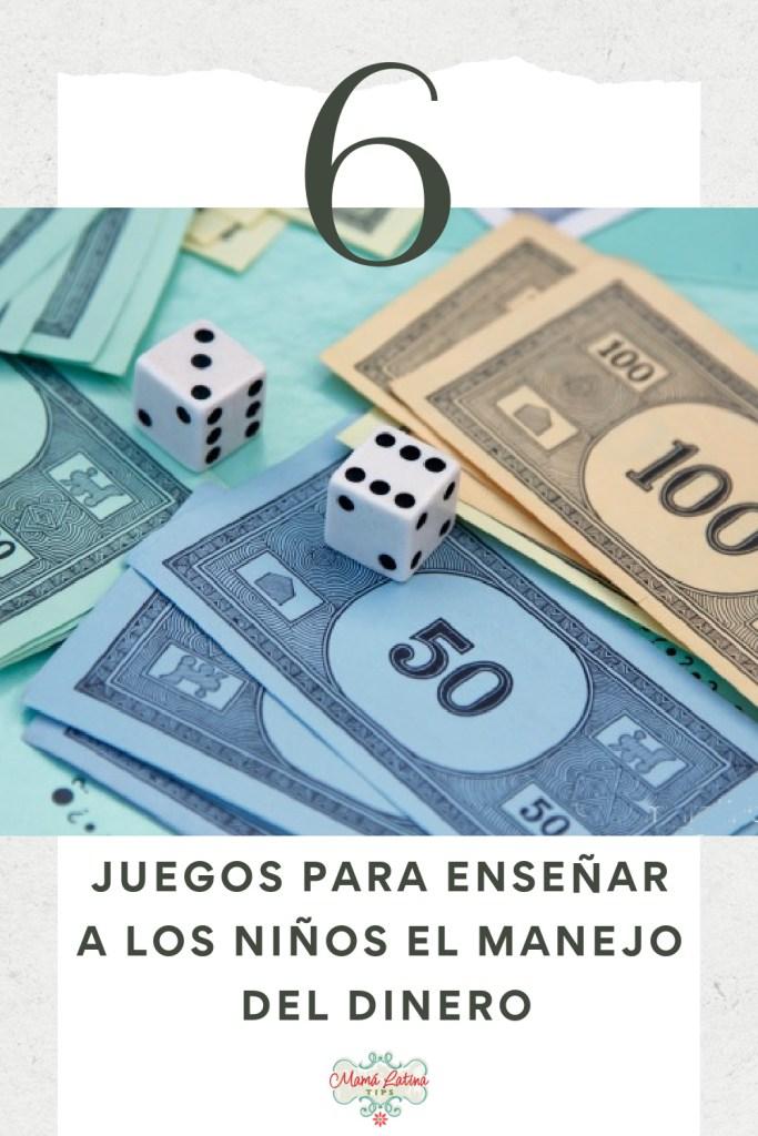 Una foto con dinero de papel y dados y que dice, juegos para enseñar a los niños el manejo del dinero.