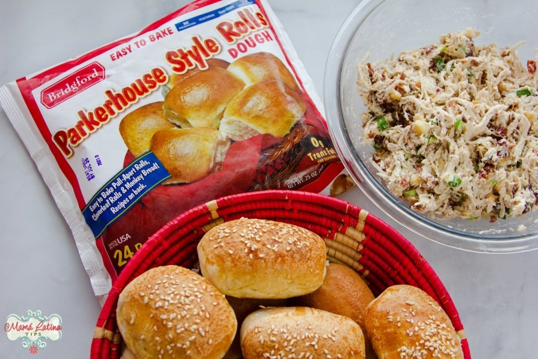 Bag of Bridgford Parkerhouse Style rolls, baked rolls and chicken salad with dates