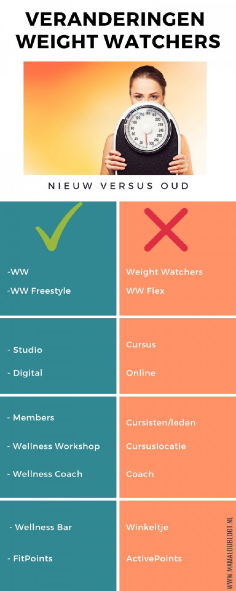 infographic veranderingen bij Weight Watchers