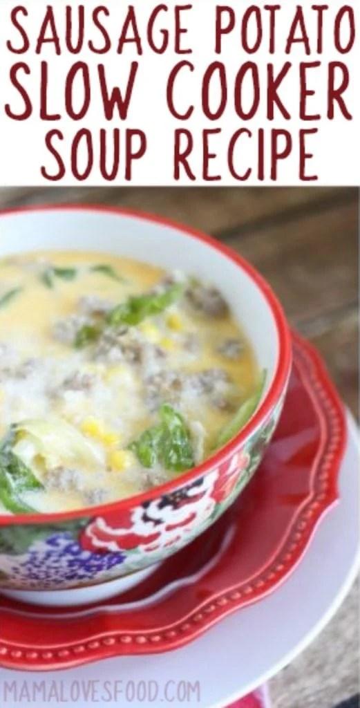 Creamy Sausage Potato Soup for the Slow Cooker crock pot