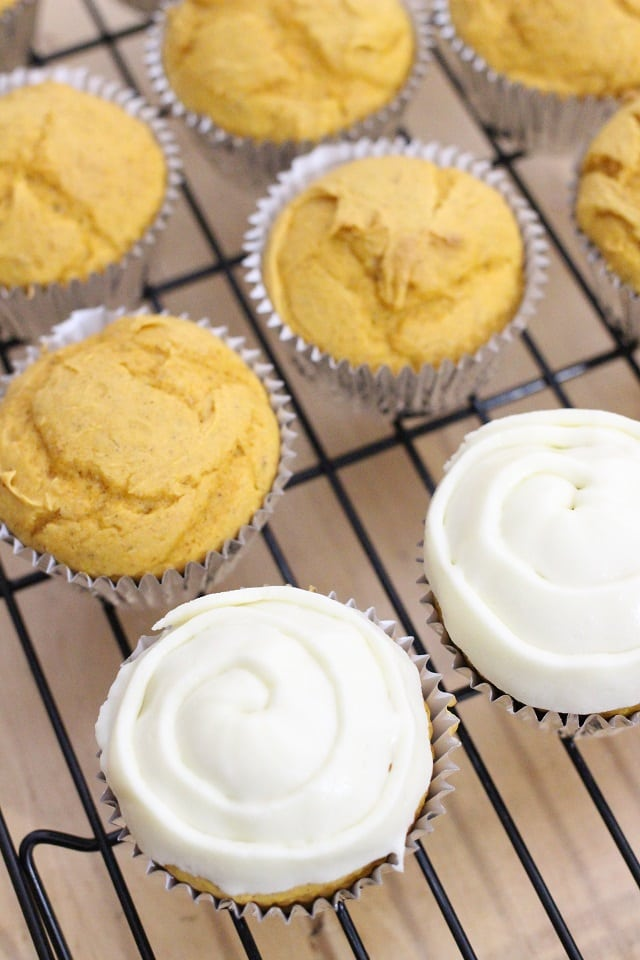 Pumpkin Spice Cupcakes Recipe with Eggnog Frosting