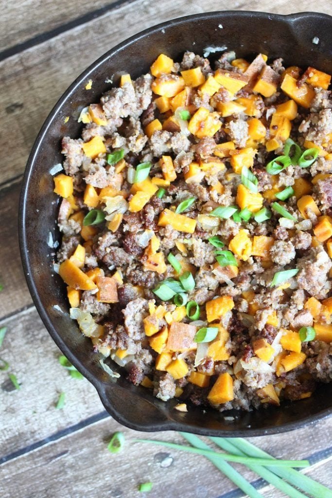 Sweet Potato and Sausage Hash garnished with green onion