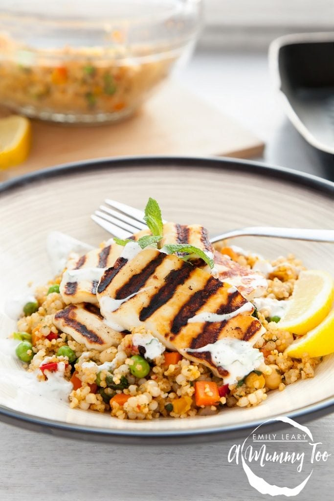 Grilled Halloumi Vegetable Couscous with a Yogurt Mint Dressing