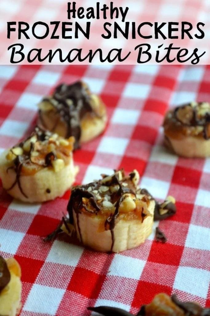Healthy Frozen Snickers Banana Bites